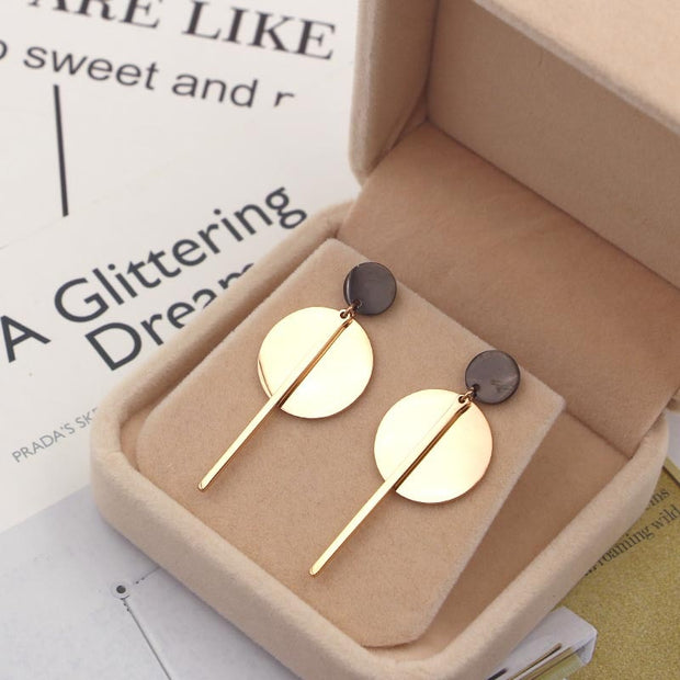 Simple Korean Style Earrings For Woman Punk Fashion Jewelry For Women Rose Gold Color Silver Color Stainless Steel Round Earring