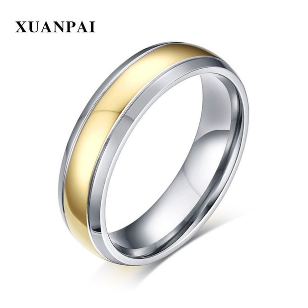 Simple Style Gold Color Titanium Ring Men Women Daily Anel Jewelry Comfort Fit Female Ring 6mm Wide