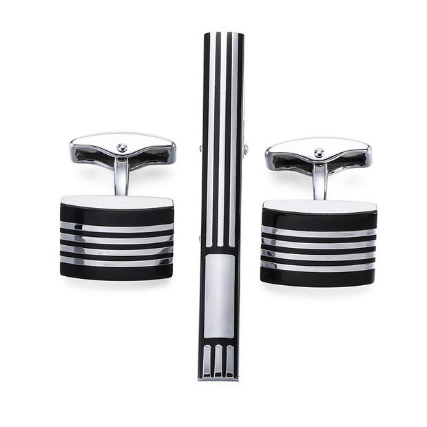 Simple Black Stripe Bussiness Tie Clip Cufflinks For Mens Set Cufflinks High Quality Tie Pin Cuff Links Set Men Jewelry Gifts