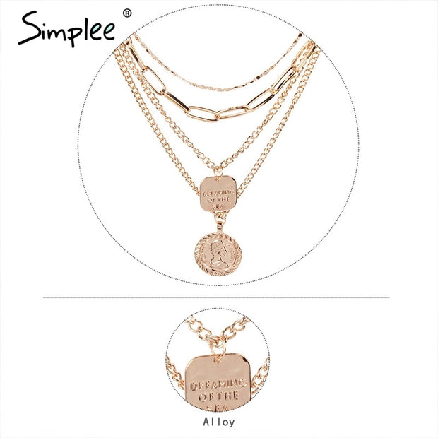 Simplee Multilayer Statement Necklace Trendy Styles Necklace Long Fine Jewelry Women Pendant Necklaces Clothing Accessories 2019
