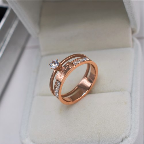 Six Prong Setting Cubic Zircon And Crystal Women Wedding Ring New Fashion Titanium Steel Trendy Gift Rings Size5-10