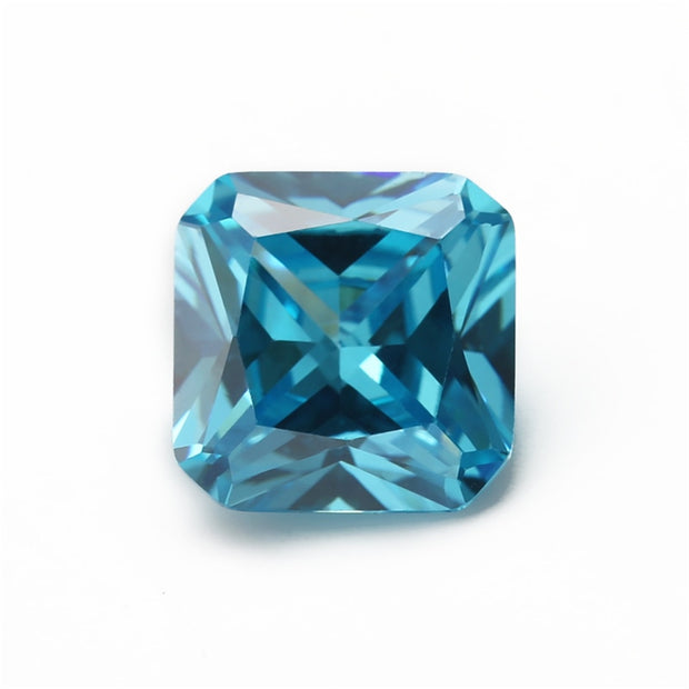 Size 4x4~10x10mm Square Octangle Shape Princess Cut 5A Seablue Zirconia Stone Synthetic Gems CZ Stone