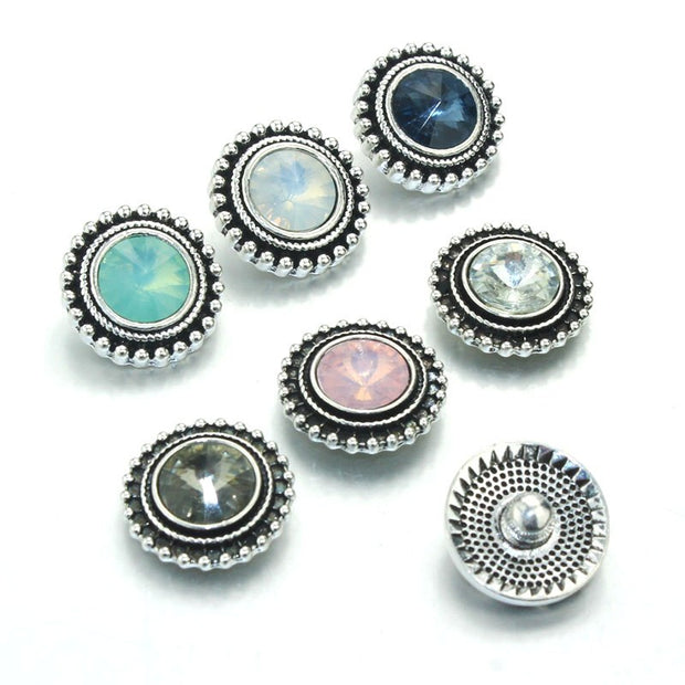 Snap Jewelry Buttons Birthstone Rhinestone 18mm Snap Buttons Fit 18mm Snap Bracelets Women Alloy Button Jewelry 011307