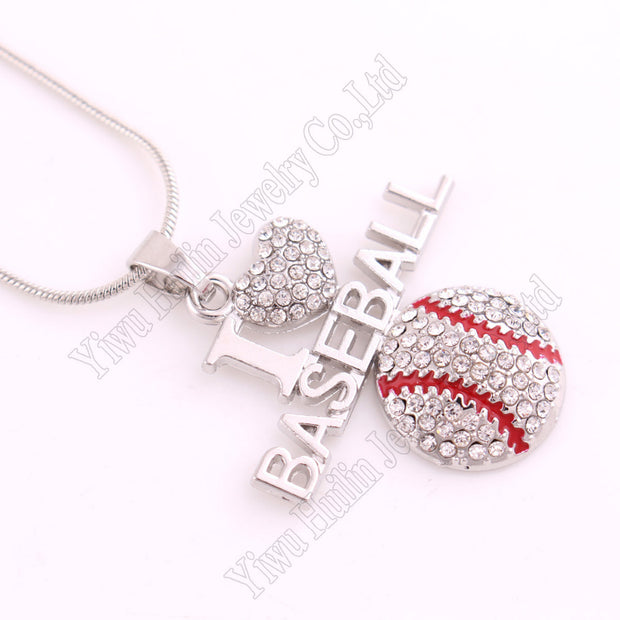 "Sports Jewelry Drop Shipping 1.26""*1.3"" Inches Crystal Silver Chain I LOVE BASEBALL 2D Pendant Necklace Fans Favorite Jewelry"