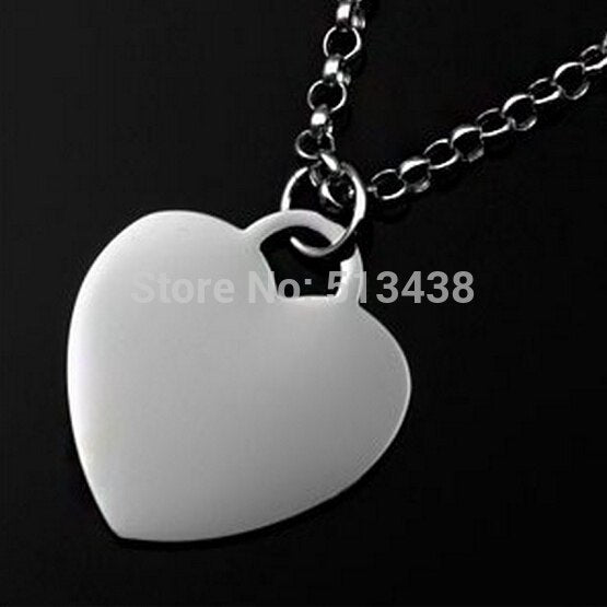 Stainless Steel 17*19mm Heart -Link Charm Necklace Rolo Chain 18'' For Women