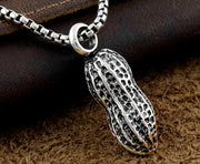 Stainless Steel 3D PEANUT Highly Detailed Lucky Charm Pendant Necklac Chain