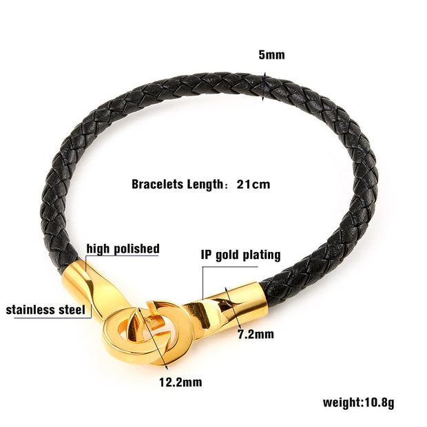 Stainless Steel Genuine Leather Bracelet Trendy Open Clasp Gold Color Biker Bracelets Men Punk Bangles Pulseiras Masculina Couro