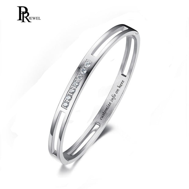 Stainless Steel Silver Color Rhinestones Bangle Valentine Day's Gift For Grilfrend