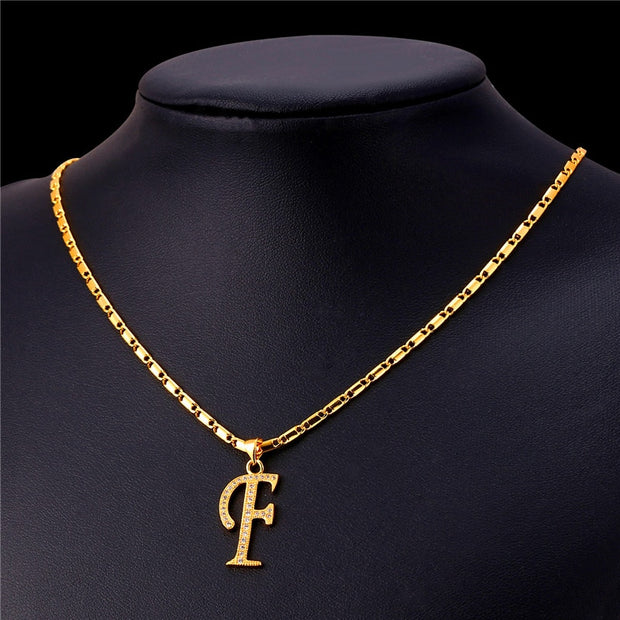Starlord Initial F Letter Pendants & Necklaces Women Men Personalized Gift Alphabet Jewelry Gold Color Necklace P1676