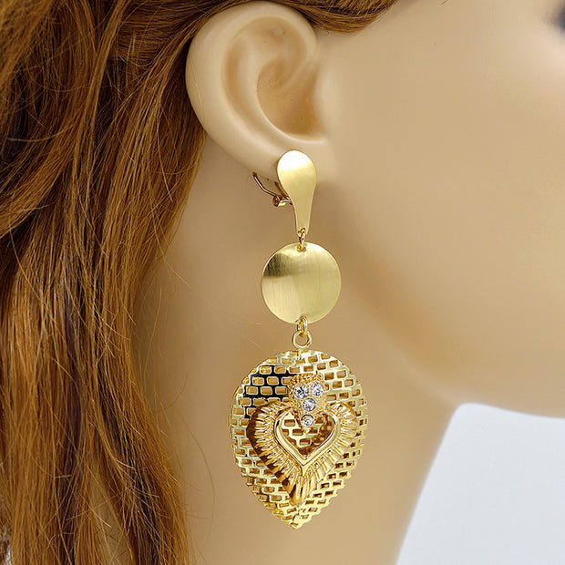 Sunny Jewelry Big Earrings For Women Long Drop Dangle Earrings Romantic Heart Jewelry For Wedding Hot Selling Jewelry Findings
