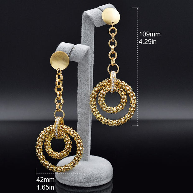 Sunny Jewelry Cubic Zirconia Jewelry Findings Round Earrings For Women Long Drop Dangle Earrings For Engagement Bohemia Jewelry
