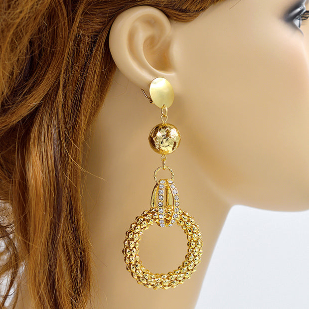 Sunny Jewelry Ethnic Jewelry Big Round Earrings For Women Long Drop Dangle Earrings Cubic Zirconia Jewelry Findings For Wedding