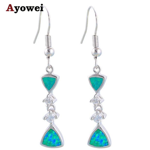 Super Desinger Supplier Wholesale Retail Blue Fire Opal Silver Stamped Drop Earrings Fashion Jewelry OE140A