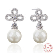 Super Flash Simulated Pearl Earrings Korean Fashion Zircon Jewelry Wholesale Ladies Women Accessories Earrings