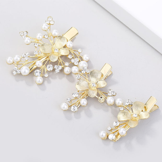 Sweet Romantic Bridal Wedding Jewelry Baroque Golden Leaf Side Clip Three-piece Set Set Hair Accessories Wedding Decoration