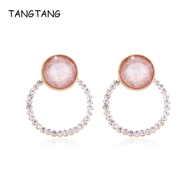 TANGTANG Big Earrings Women Korean Fashion Resin Stone Round Earrings Austria Rhinestone Crystal Earring Fashion 2019 Spring
