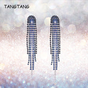 TANGTANG Earrings New Year Women's Fashion Long Evening Earrings Crystal Tassel Earring For Girl Silver/Gold Hanging With Zircon