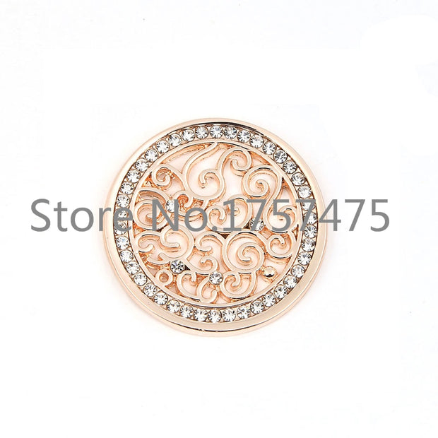 TDIYJ 6Pcs Deluxe 25mm Crystal Flower Coin Disc For My Coin Holder Frame Pendant Necklace As Women Jewelry Accessories