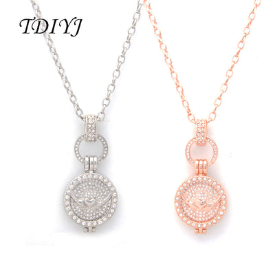 TDIYJ Newest My Coin Silver/Rose Gold Full Crystal Claddagh Coin 25MM Frame Pendant Necklace With Spring Clasp For Women 1set