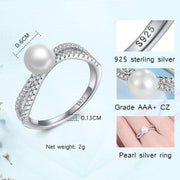 TONGZHE Authentic 100% 925 Sterling Silver Rings For Women Big Natural Pearl Twist Clear AAA CZ Wedding Bohemian Fine Jewelry