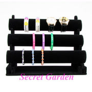 TONVIC High Quality Black Velvet Bangle Watch Bracelet Display Stand Holder T-Bar 3 Tiers