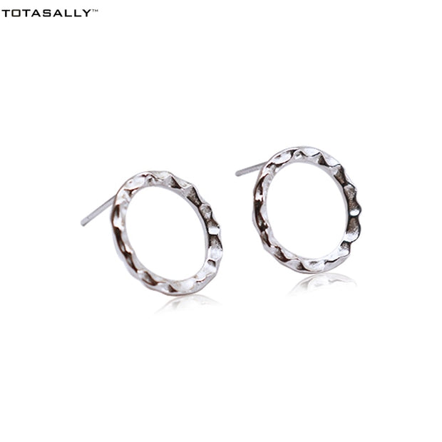 TOTASALLY 100% Real S925 Silver Stud Earrings Fashion Designer Stunning Simple Geometric Circle Earrings For Women Jewelry