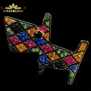 Tangram Inspiration Multi ColorCrystal Puppy Brooches Gold Tone Geometrical Gird Style Colorful Super Cute Puppy Pin Dog Jewelry