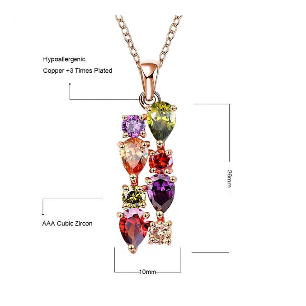Three-piece Necklace Earrings Ring Set Jewelry Bridal Accessories Mona Lisa Colorful Shiny Zircon Party Jewelry