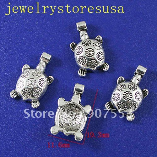 Tibetan Silver Turtle Findings 20 Pcs H0030