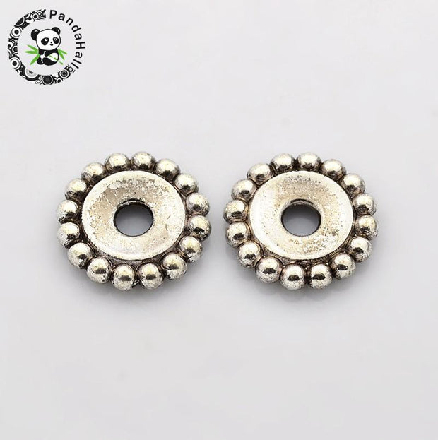 Tibetan Style Beads, Flower, Lead Free, Cadmium Free And Nickel Free, Antique Silver, About 18mm Long, 18mm Wide, 3mm Thick,