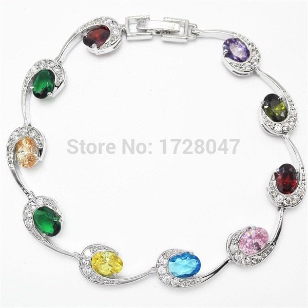 Top Design Multicolor White Color Bracelets Sterling Silver Jewelry For Women Christmas Gift Free Shipping