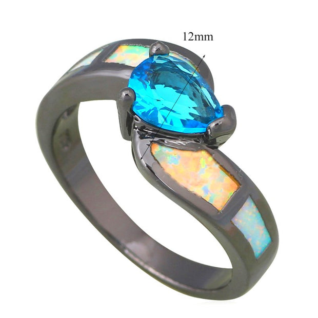 Top Sell Rings Blue Fire Opal Silver Stamped Loweast Price Fashion Jewelry Ring USA Size #6#7#8#9 OR802A