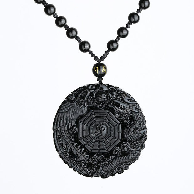 Top Quality Black Obsidian Necklace Pendant Carved Chinese Dragon Phoenix BaGua Lucky Amulet Necklace Men's Women's Jewelry