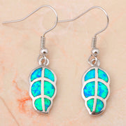 Top Quality ! Leaf Wholesale & Retail Blue Fire Opal Silver Stamped Dangle Earrings Fashion Jewelry Opal Jewelry OE038