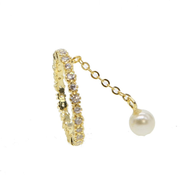 Top Quality Gold Filled Cz Eternity Band Fashion Elegant Girl Tassel Chain With 1 Pc Pearl Bead Stunning Women Cz Chain Ring