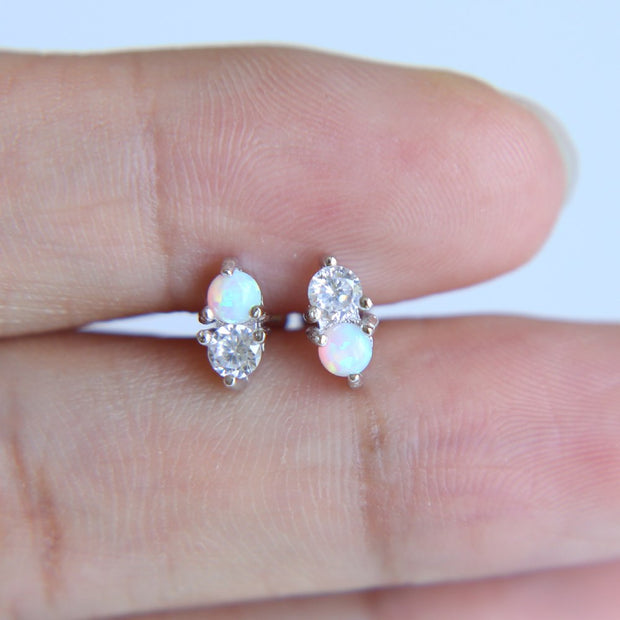 Top Quality Simple Delicate Design Two Stone Fire Sparking Opal Cz PRONG Setting 100% 925 Sterling Silver Women Girl Earring