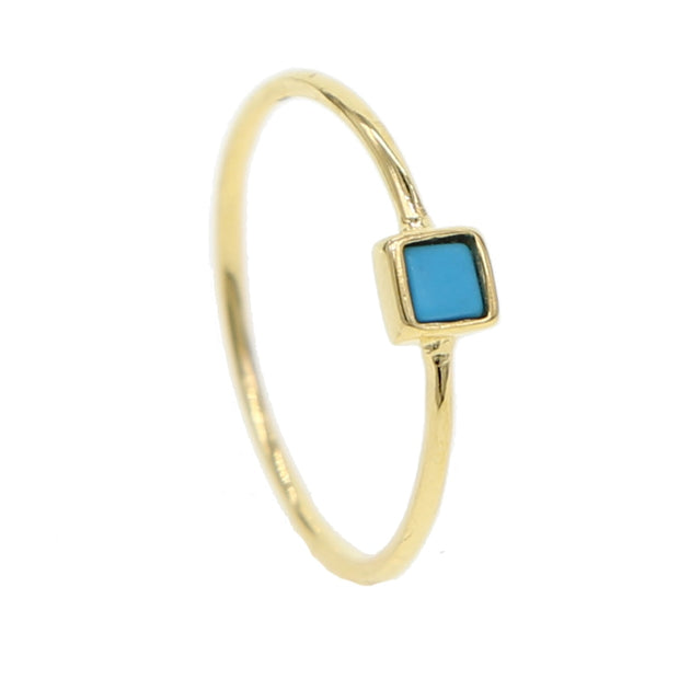 Trendy 925 Sterling Silver Single Stone Ring With Geometric Square Rectangle Turquoises Stone For Women Simple Finger Jewelry