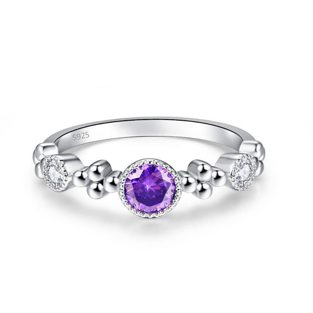 Trendy Authentic 925 Sterling Silver Round Elegant Ladies Finger Zircon Purple Ring For Women New Sterling Jewelry Big Discount
