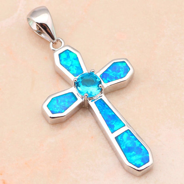 Trendy Cross Design Pendant For Women Blue Fire Opal Silver Stamped Blue Zircon Nacklace Pendants Fashion Jewelry OP517A