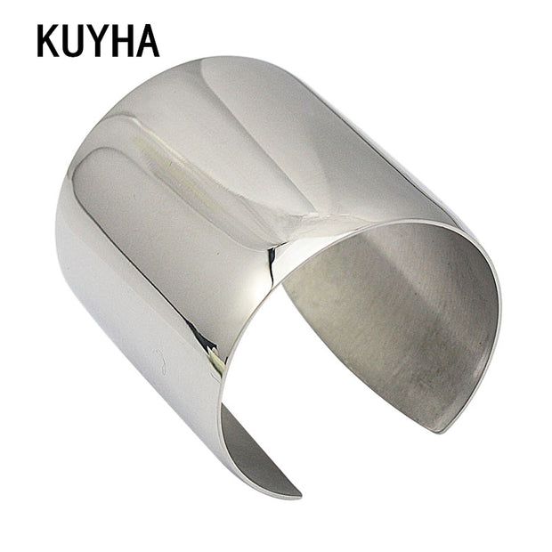 Trendy Cuff Bangles For Women Stainless Steel Gold Silver Rainbow Brand Gift Wristband Bracelet Punk Jewelry