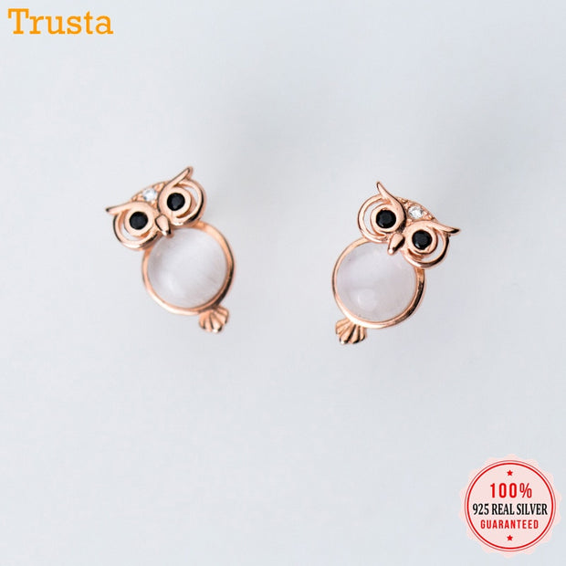 Trusta High Quality Made Pure 925 Sterling Silver Stud Earrings Owl 925 Stud Earring Fashion Jewelry Gift For Girls Lady DS1361