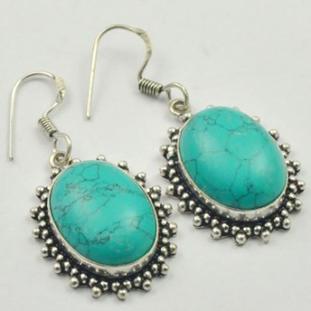 Turquois Earrings Silver Overlay Over Copper , 47 Mm, E3648