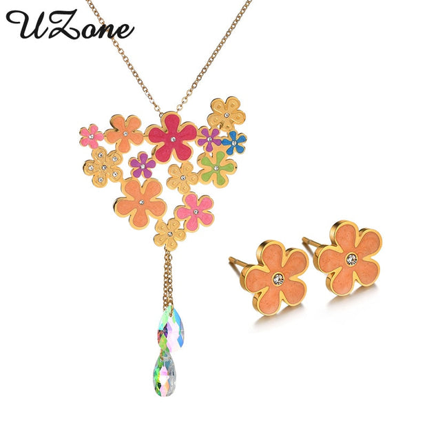 UZone Elegant Gold Enamel Flower Necklaces Earring Set Stainless Steel Princess Engagement Wedding Jewelry Set For Women