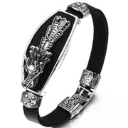 Unique Alloy & Black Leather Bracelet For Men Angle Wing, Feather, Dragon, Skull 4 Styles Cool Boys Bracelets For Gift 20cm
