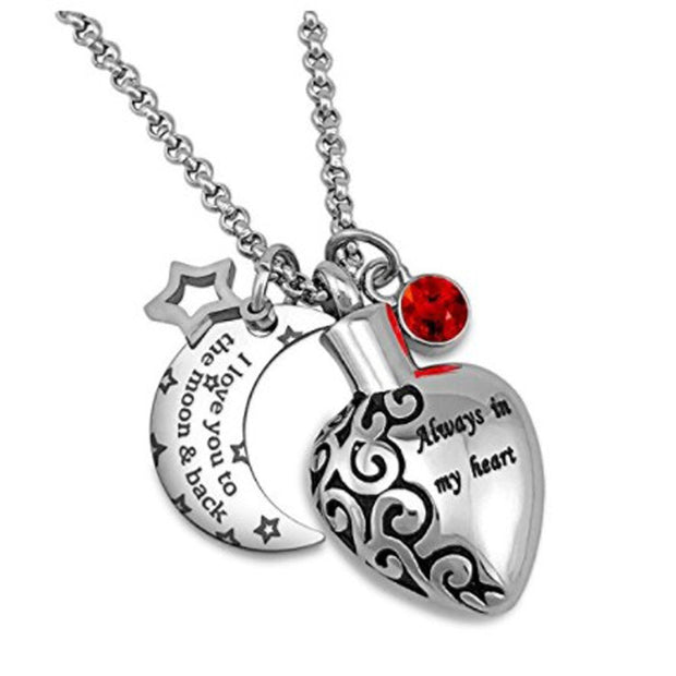 Urn Necklaces For Ashes Always In My Heart Love You To The Moon And Back 12 Birthstones Styles Necklace