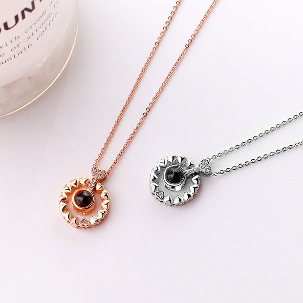 Utimtree Top Quality 2018 Rose Gold Memory Wedding Necklaces 100 Languages I Love You Projection Pendant Necklace Drop Shipping