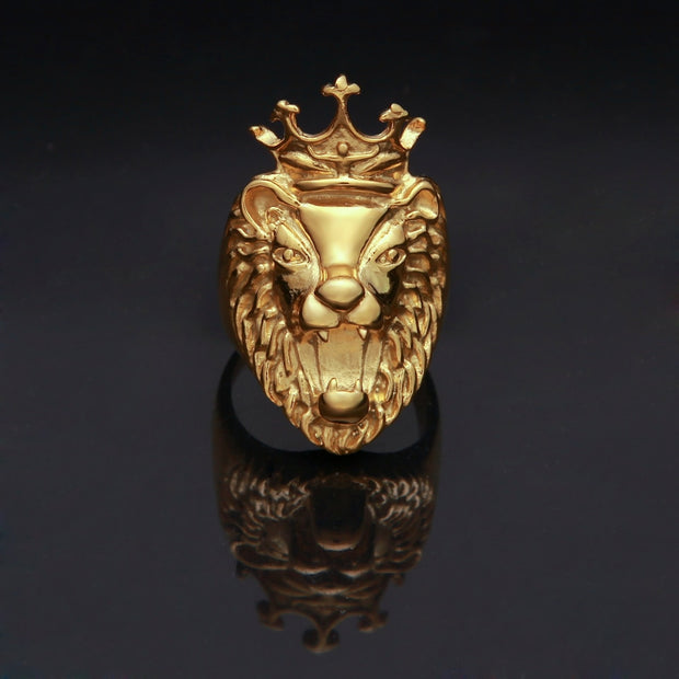 Uwin Hiphop Mens Rings King Crown Lion Luxury Ring Top Quality Gold Color Stainless Steel Fashion Jewelry Wholesale Dropshipping