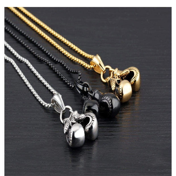 V.YA Punk Mini Gloves Boxing Necklace For Men Stainless Steel Chains For Men Three Color Fitness Pendant For Male Unique Gifts