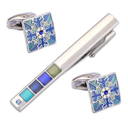VAGULA Drop Shipping Crystal Cuff Link And Tie Clip Sets Tie Bar Cufflinks High Quality Cuff Links Tie Pin Set 72-3