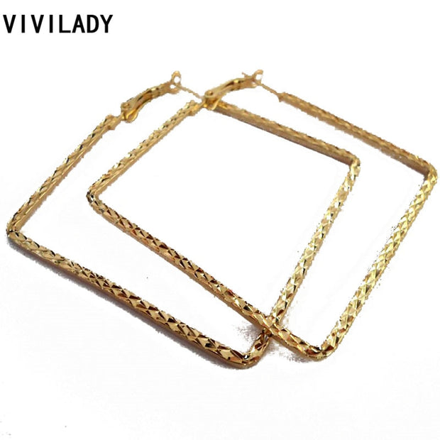 VIVILADY Fashion Hot 12 Pairs/lot Nickel Free Gold Color Square Hoop Earrings Women Bijoux Accessories Birthday Wholesale Gifts